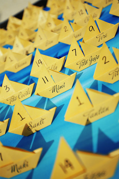 Origami Sailboat Escort Cards - Wedding Belles Blog