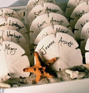 Sand Dollar Escort Cards - Wedding Belles Blog