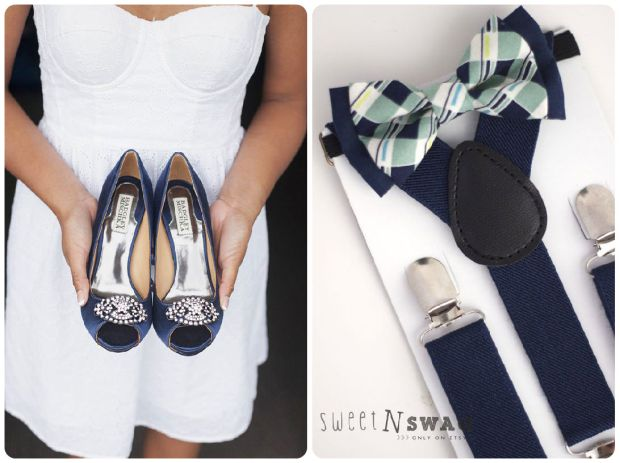Navy + Mint Bride and Groom - Wedding Belles Blog