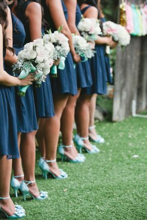 Navy + Mint Bridesmaids - Wedding Belles Blog