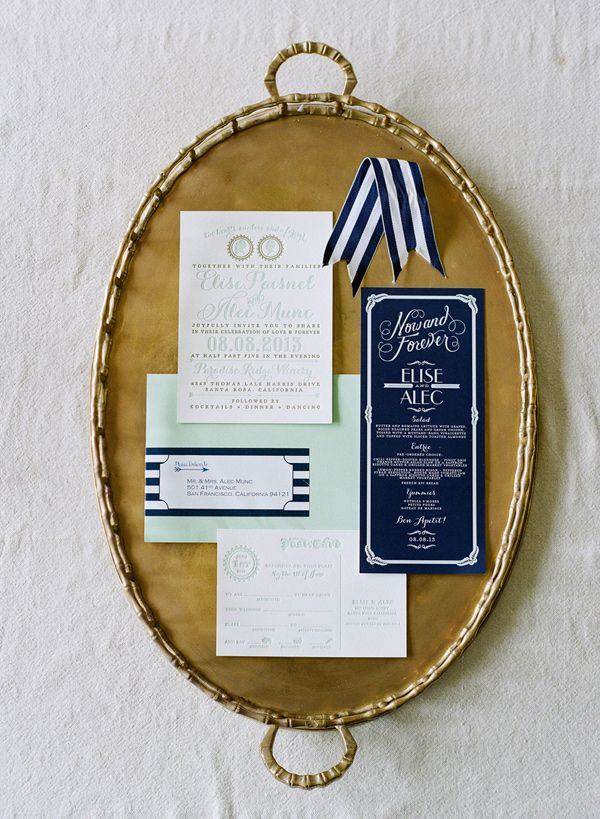Navy + Mint Invitations - Wedding Belles Blog
