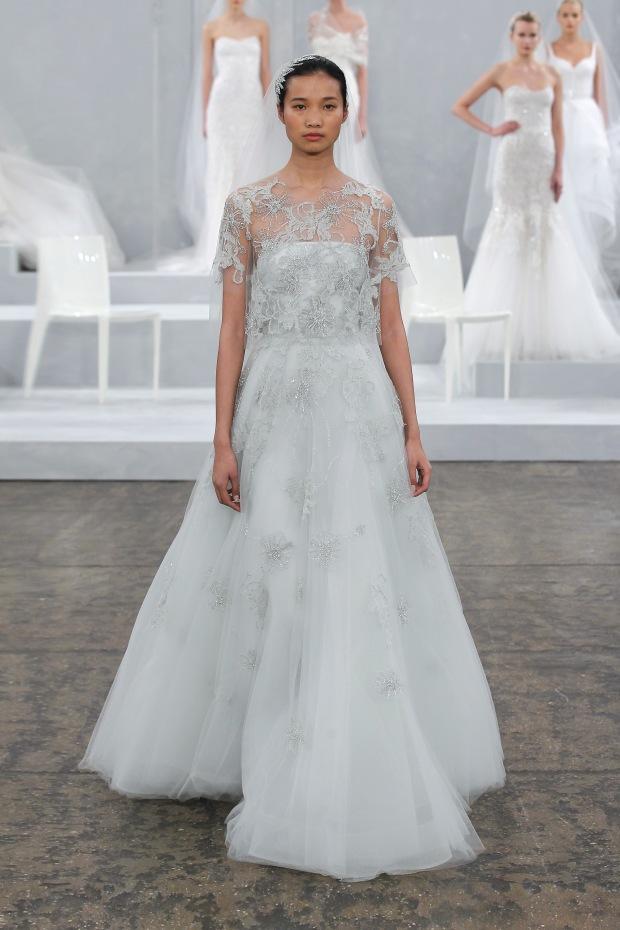 Monique Lhuillier Pistachio A-Line - Wedding Belles Blog