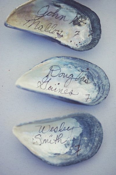 Oyster Shell Escort Cards - Wedding Belles Blog
