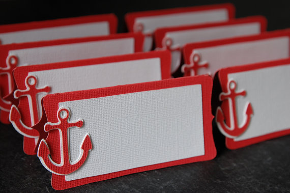 Red Anchor Place Cards - Wedding Belles Blog