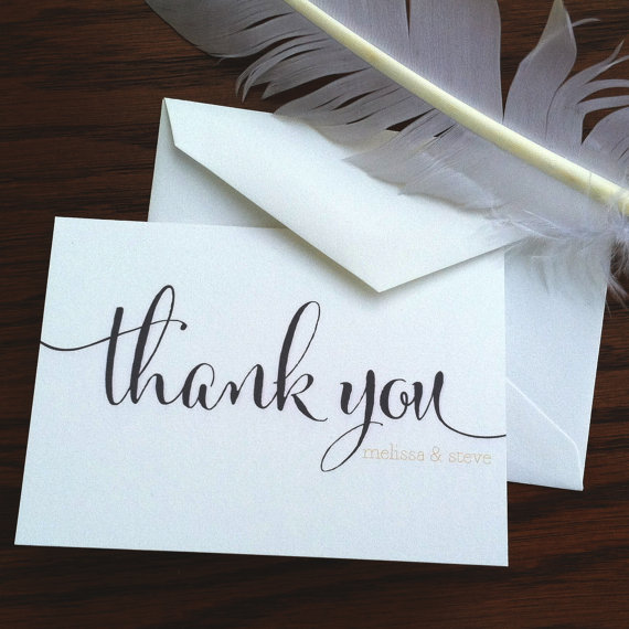 Thank You Note by VeronicaFoleyDesign via Etsy - Wedding Belles Blog