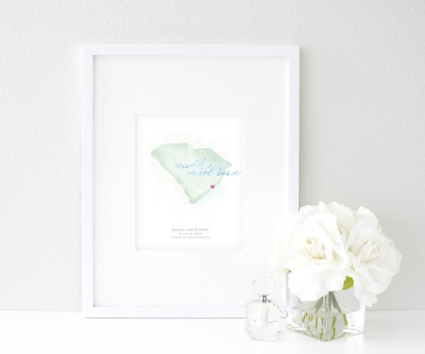 Hand-Painted Personalized Watercolor South Carolina Map by Beloved Paper - Wedding Belles Blog