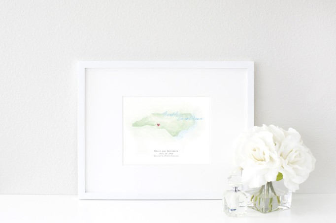 Hand-Painted Personalized Watercolor North Carolina Map by Beloved Paper - Wedding Belles Blog