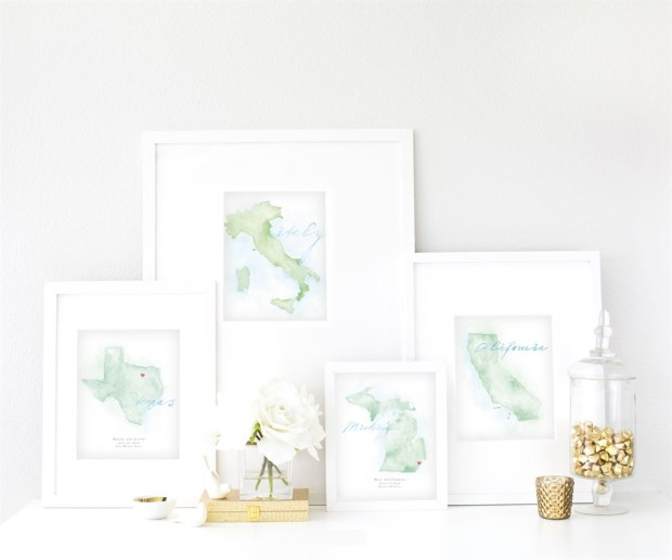 Hand-Painted Personalized Watercolor Maps by Beloved Paper - Wedding Belles Blog