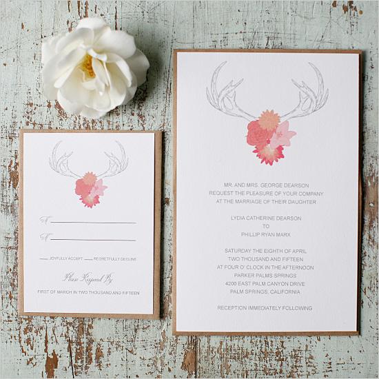 FREE Antlers Wedding Invitation Suite by Wedding Chicks - Wedding Belles Blog
