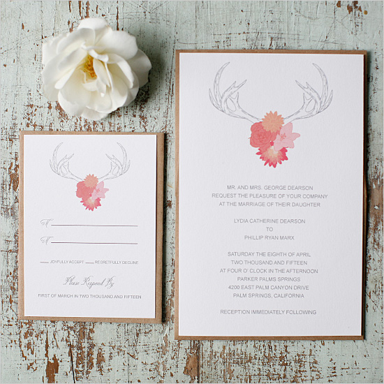 FREE Antlers Wedding Invitation Suite by Wedding Chicks - Wedding Belles Blog