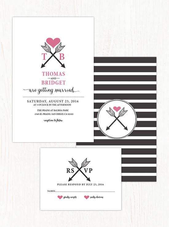 Arrowheart Wedding Invitation Suite by Wedding Chicks - Wedding Belles Blog