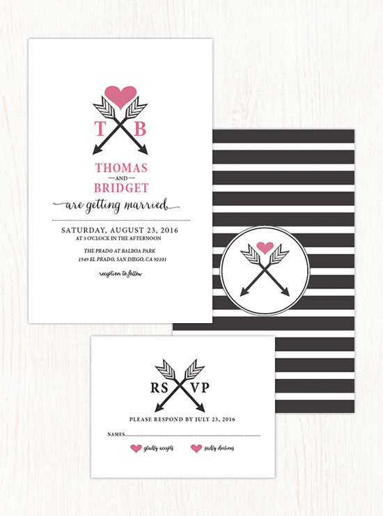 Arrowheart Wedding Invitation Suite by Wedding Chicks - Wedding Belles Blog