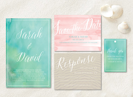 Beach Invitation Suite by Wedding Chicks - Wedding Belles Blog