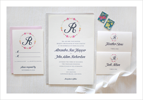 Floral Monogram Wedding Invitation Suite by Wedding Chicks - Wedding Belles Blog