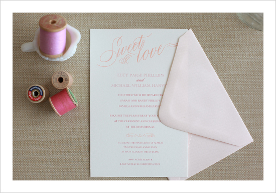 Sweet Love Wedding Invitation Suite by Wedding Chicks - Wedding Belles Blog