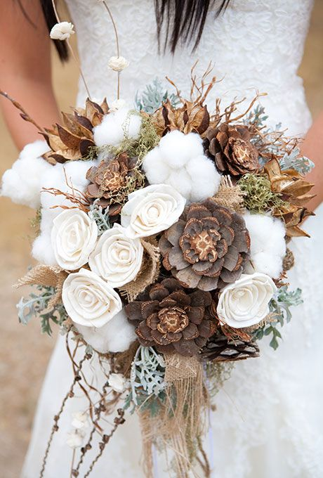 Rustic fall wedding bouquet of cotton, pinecones, and dusty miller, accented with pieces of burlap - Wedding Belles Blog