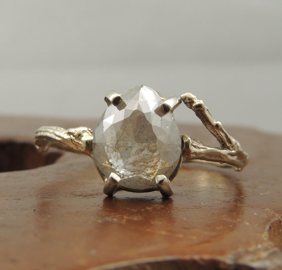 Pear-shaped, rose cut silver diamond branch engagement ring - Wedding Belles Blog