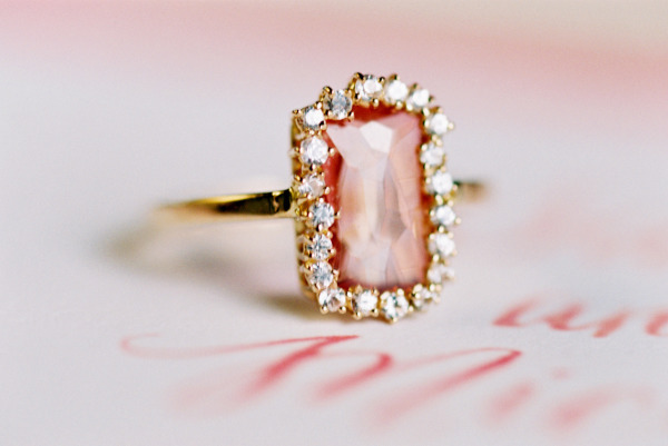 Pink engagement ring with diamond halo and simple gold band - Wedding Belles Blog