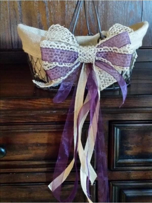 Metal and Burlap Flower Girl Basket via Recycle Your Wedding - Fairly Southern