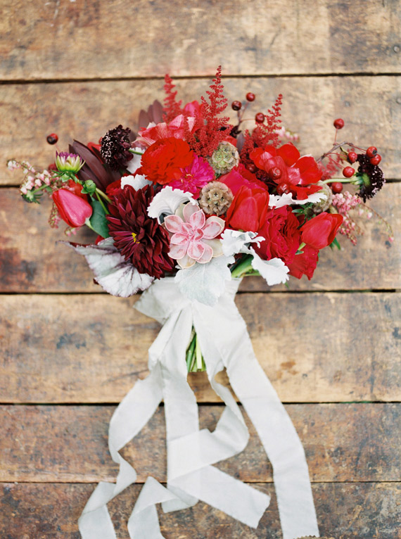 Vibrant Red Fall Wedding Bouquet - Wedding Belles Blog