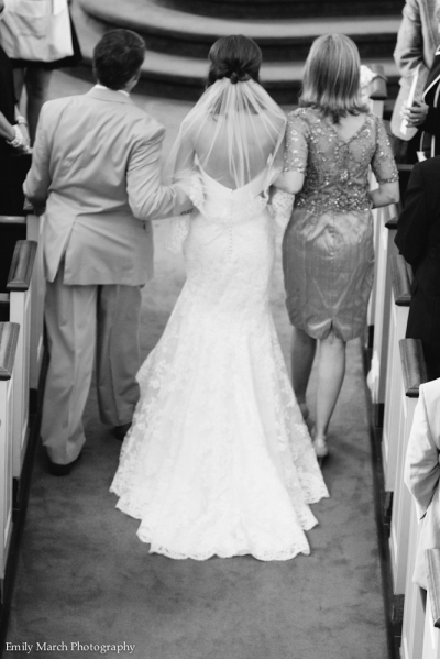 Father and Mother Walking Bride Down the Aisle - Wedding Belles Blog