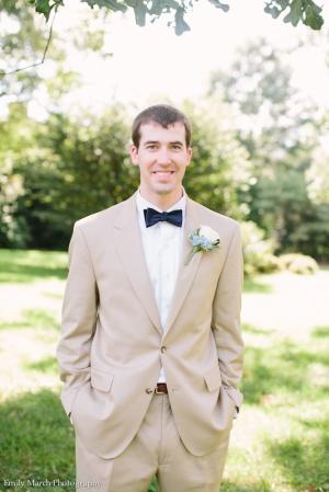 Groom in Tan Suit and Navy Bow Tie - Wedding Belles Blog