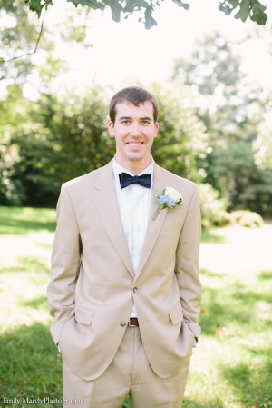 Groom in Tan Suit and Navy Bow Tie - Wedding Belles Blog