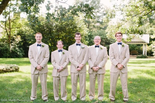 Groomsmen in tan suits and navy bow ties - Wedding Belles Blog