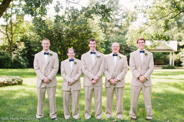 Groomsmen in tan suits and navy bow ties - Wedding Belles Blog