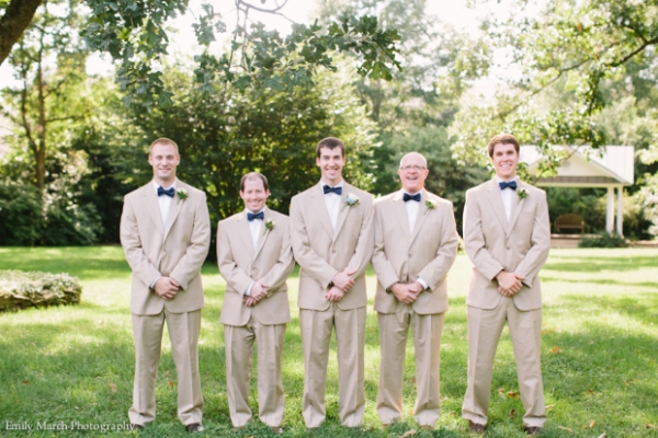 Groomsmen in tan suits and navy bow ties - Fairly Southern