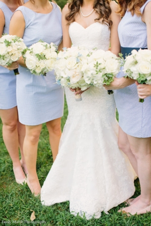 Seersucker bridesmaid dresses and white bouquets - Wedding Belles Blog