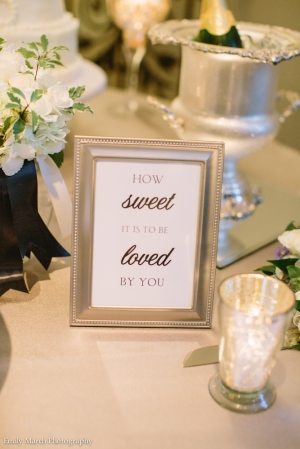 """""""How Sweet It Is To Be Loved By You"""" Cake Table Sign - Wedding Belles Blog"""