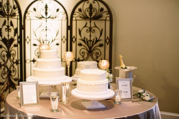 White Wedding Cake Display - Wedding Belles Blog