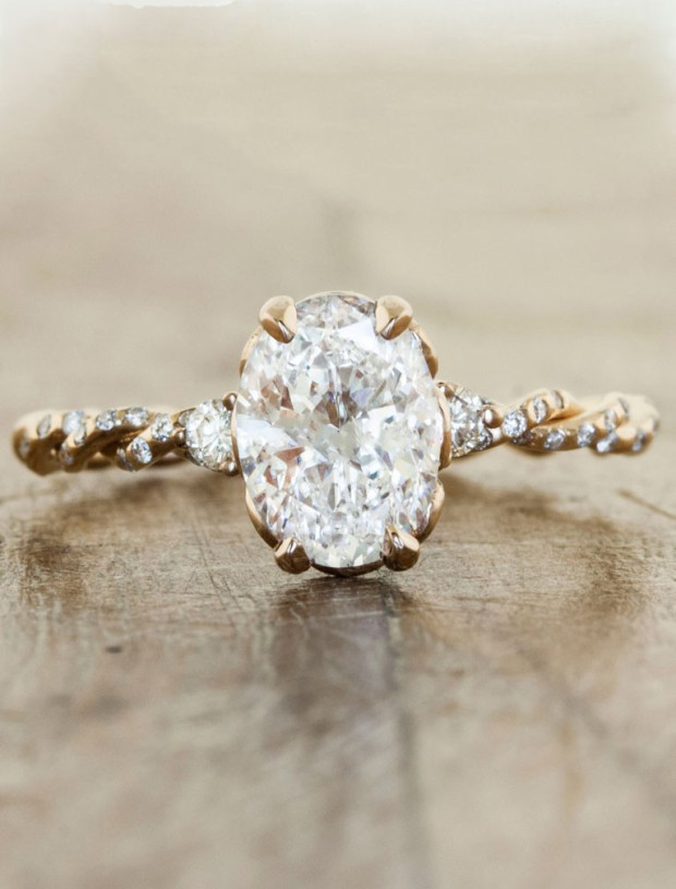 """""""Shanel"""" Diamond Engagement Ring with Twisted Rose Gold Band - Wedding Belles Blog"""