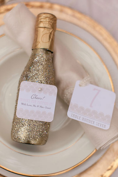 Mini Bottles of Champagne as Favors: Perfect for a New Year's Eve Wedding - Wedding Belles Blog