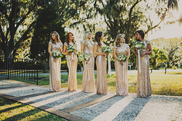 Gold Sequined Badgley Mischka Bridesmaid Dresses - Wedding Belles Blog