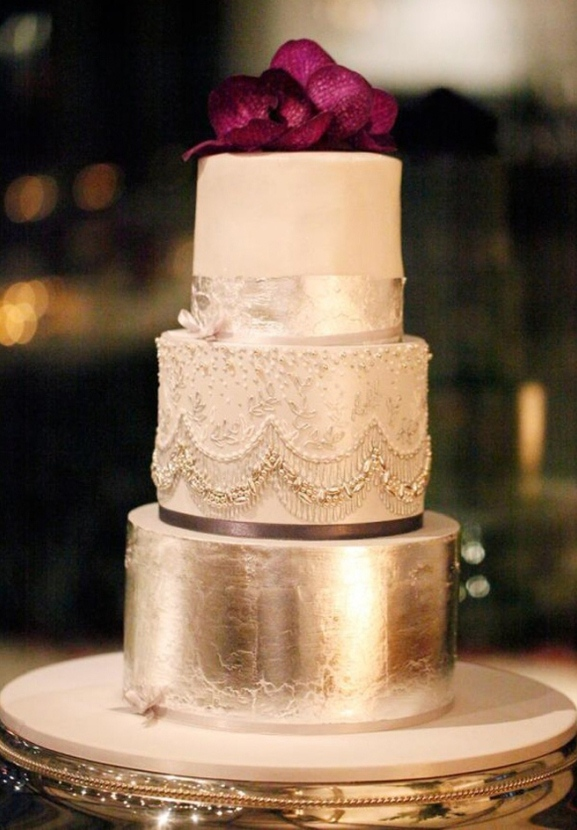 Glitzy Gold Wedding Cake: Perfect for a New Year's Eve Wedding - Fairly Southern