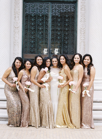 Glittery Bridesmaid Dresses: Perfect for a New Year's Eve Wedding - Wedding Belles Blog
