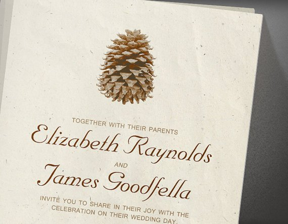 Pinecone Wedding Invitation - Wedding Belles Blog
