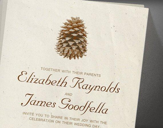 Pinecone Wedding Invitation - Wedding Belles Blog