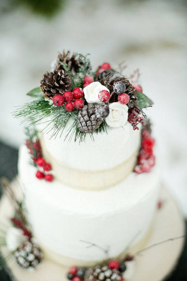 Pinecone and Evergreen Wedding Cake - Wedding Belles Blog