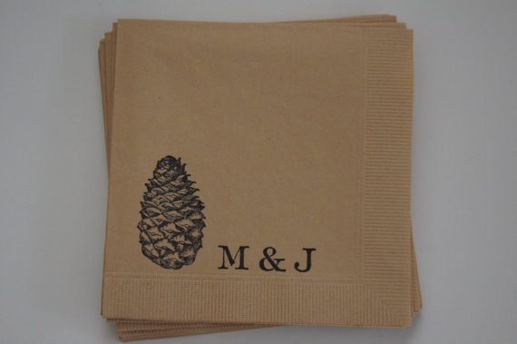 Pinecone Cocktail Napkins - Wedding Belles Blog