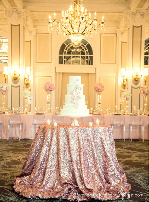 Rose Gold Sequined Cake Table - Wedding Belles Blog