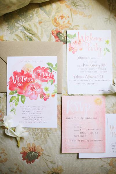 Pink Floral Watercolor Wedding Invitation Suite - Wedding Belles Blog