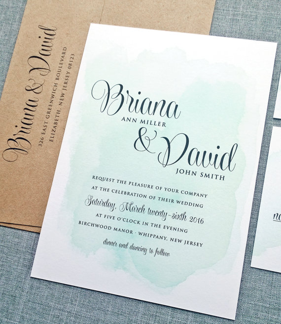 """Briana"" Watercolor Wedding Invitation - Wedding Belles Blog"