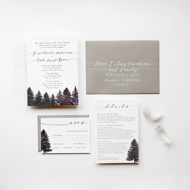 Evergreen Winter Wedding Stationery - Wedding Belles Blog