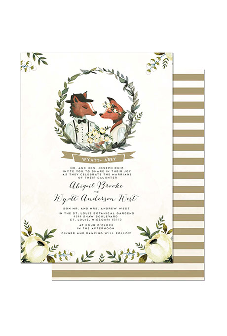 """Foxes in Love"" Winter Wedding Stationery - Wedding Belles Blog"