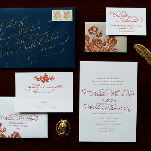Navy and Burnt Orange Winter Wedding Stationery - Wedding Belles Blog