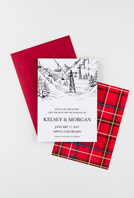 """See You On The Slopes"" Winter Wedding Stationery - Wedding Belles Blog"