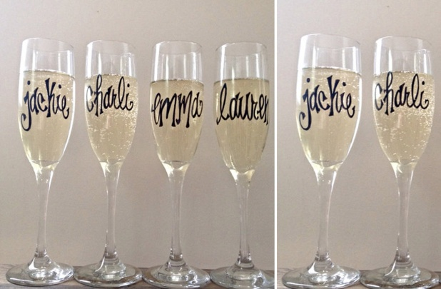 Personalized Champagne Flutes An Adorable Bridesmaid Gift Tres Belle